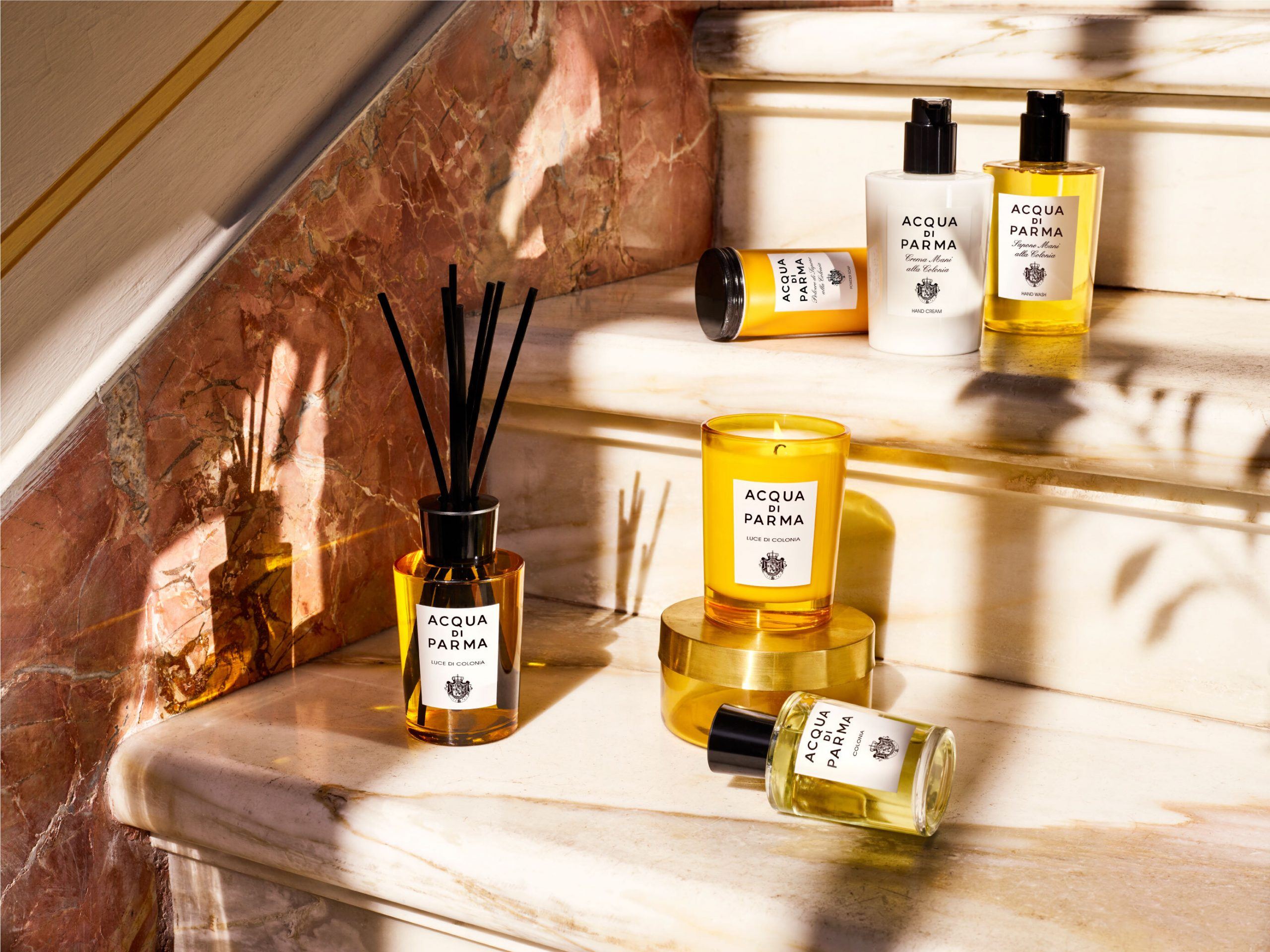 Home fragrances collection arranged on a staircase